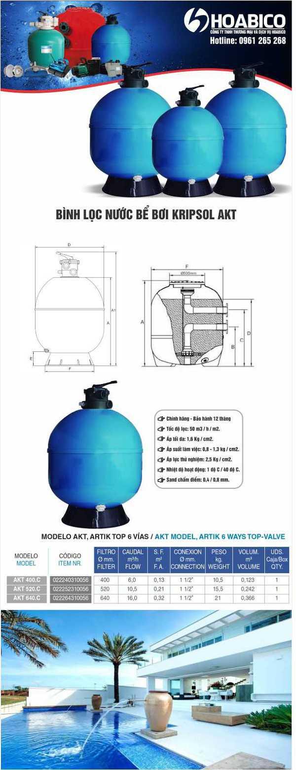 Đặc điểm của bình lọc nước bể bơi Kripsol AKT