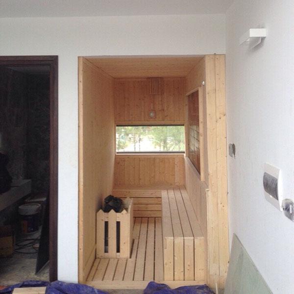 Phòng xông hơi khô gia đình bằng gỗ kết hợp xây