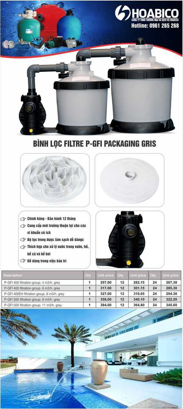 BÌNH LoC FILTRE P-GFI PACKAGING GRIS