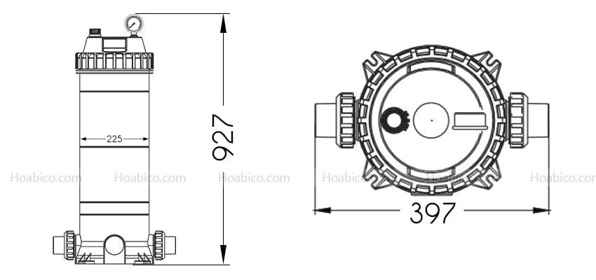 Kích thước bình lọc bể bơi Cartridge Emaux CF100