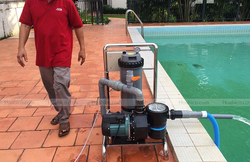 Thi công bình lọc bể bơi Cartridge Emaux CF75