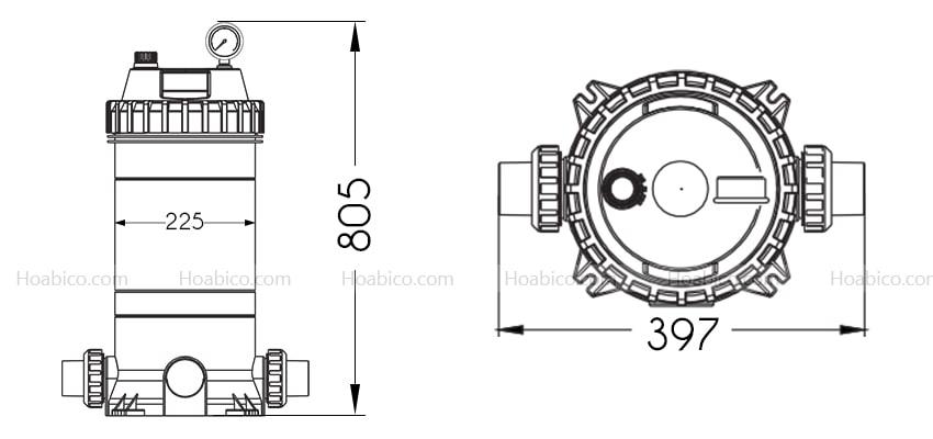Kích thước bình lọc bể bơi Cartridge Emaux CF75