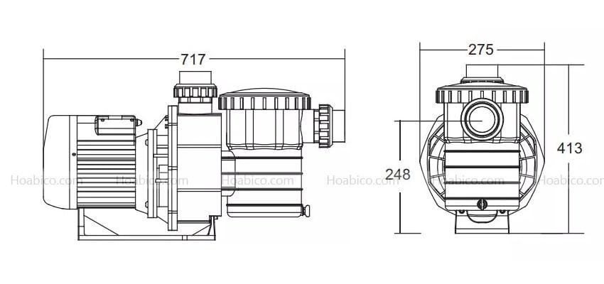 Kích thước máy bơm bể bơi Emaux 3HP