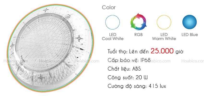Thông số kỹ thuật đèn Led bể bơi Emaux E-lumen 252