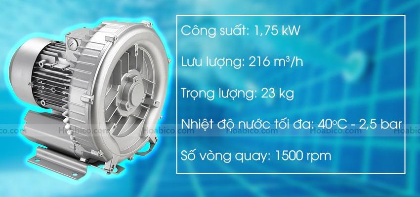 Thông số kỹ thuật sản phẩmmáy thổi khí con sò Kripsol SKH251T1