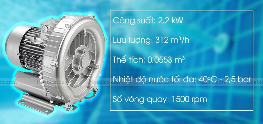 Thông số kỹ thuật máy thổi khí con sò Kripsol SKH300T1