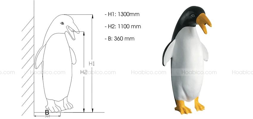 Kích thước sản phẩm chim cánh cụt phun nước